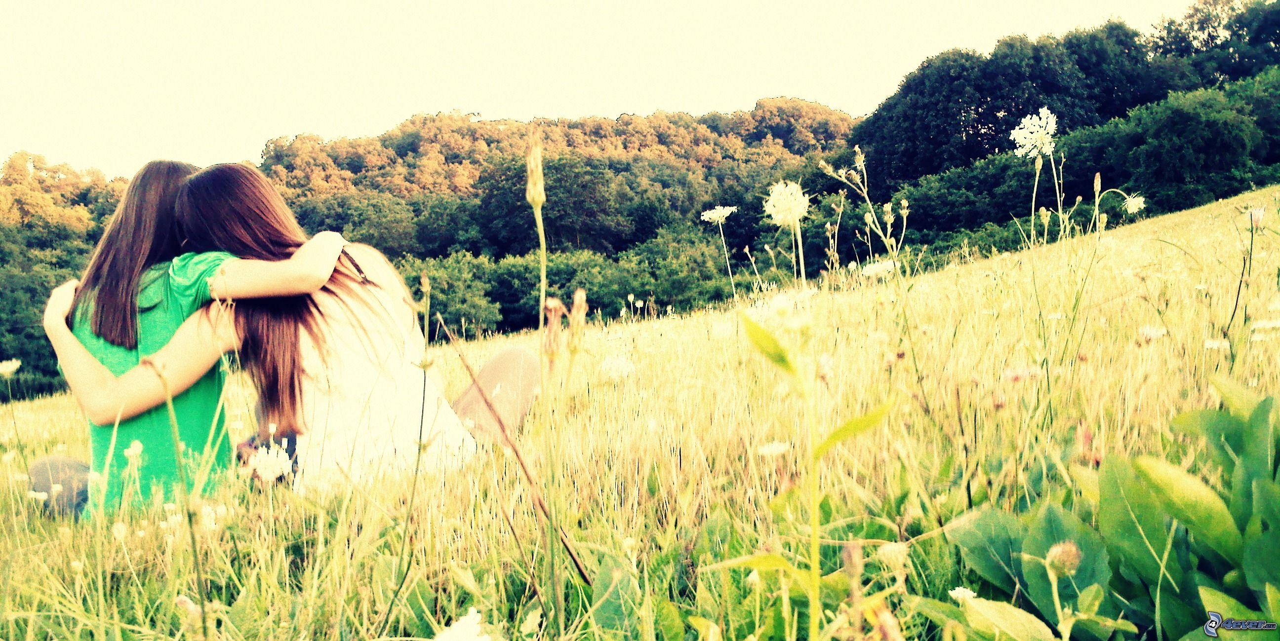 friendly-hug-girls-meadow-forest-149053